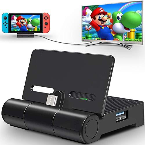 Switch TV Docking Station für Nintendo Switch,Kompakter Switch zu HDMI Adapter Faltbare Type C Switch Dock Ladestation mit USB 3.0/2.0 Port Tragbarer