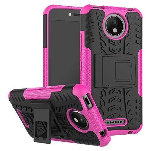 Sunrive Hülle Für Lenovo Moto C Plus, Tasche Schutzhülle Etui Hülle Cover Hybride Silikon Stoßfest Handyhülle Hüllen Zwei-Schichte Armor Design schlagfesten Ständer Slim Fall(rosa)