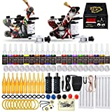 Complete Tattoo Kit 2 Machine Tattoo Gun Power Supply Needles 20 Inks L3