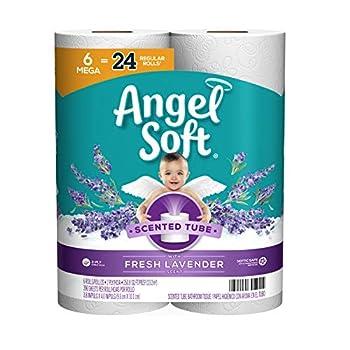 Angel Soft Toilet Paper with Fresh Lavender Scent 6 Mega Rolls=24 Regular Rolls 390+ 2-Ply Sheets