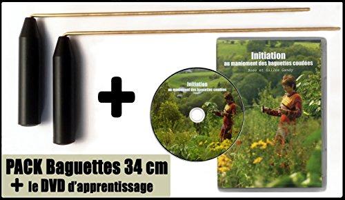 Pack Baguettes parallèles de sourcier 32cm + 1 DVD d'apprentissage « Initiation au maniement des Baguettes coudées »