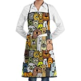 Drempad Unisex Schürzen, Novelty Cartoon Doodle Dogs and Cats Kitchen Chef Apron with Big Pockets - Chef Apron for Cooking,Baking,Crafting,Gardening and BBQ