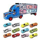 YIMORE Jouet de Camion de Transporteur avec 12 Mini Voitures en Métal pour des Garçons et des Filles (Bleu)