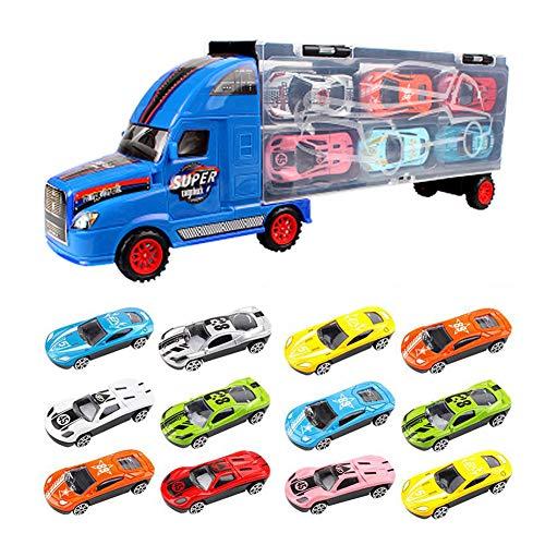 YIMORE Truck Set LKW Transportfahrzeug Autotransporter Tragegriff mit 12 Rennautos Spielzeug Jungen (Blau)