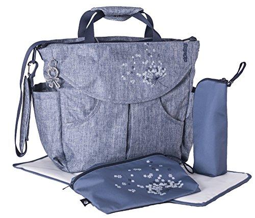 okiedog SUMO 37011 flexible Wickeltasche mit Henkel, Schultergurt, Rucksack, Kinderwagenhaken, Wickelunterlage, isol. Flaschenhalter und Zubehörbeutel, Urban jeans, ca. 47 x 40 x 14 cm