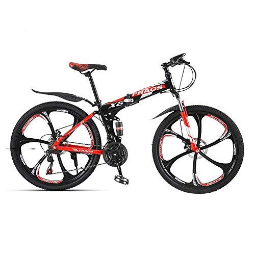 Bicicleta al aire libre fuera de la carretera, bicicleta de montaña adulta, bicicleta MTB, ruedas integradas de 26 pulgadas de 6 cuchillas, cuerpo plegable / 21 velocidades / freno de disco doble mecá