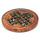 Zap Impex Juego de mesa Solitaire de madera con canicas de cristal.