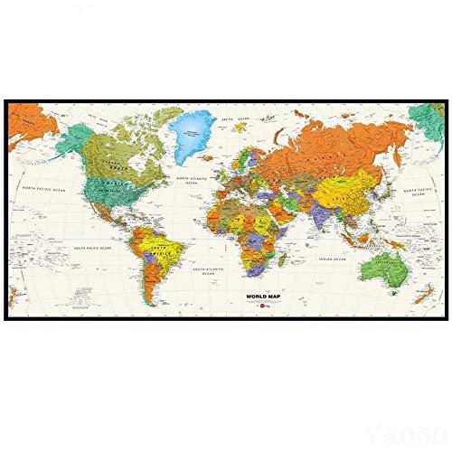 Diamond Painting Mapa del Mundo Mosaico De Gran Tamaño Completo Diamante Punto De Cruz DIY 5D Rhinestone Bordado Decoración Regalo Arte Artesanía Kit Completo,Taladro Redondo,90X240cm
