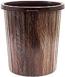 GLP Basurero redondo de 10 l, cubo de basura de plástico con anillo de prensado retro, cubo de basura duradero para el hogar y la oficina con elegante exterior de madera (color: B, tamaño: 10 L)