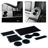 CupHolderHero fits Tesla Model 3 Accessories 2017-2020 Premium Custom Interior Non-Slip Anti Dust Cup Holder Inserts, Center Console Liner Mats, Door Pocket Liners 7-pc Set (Blue Trim)