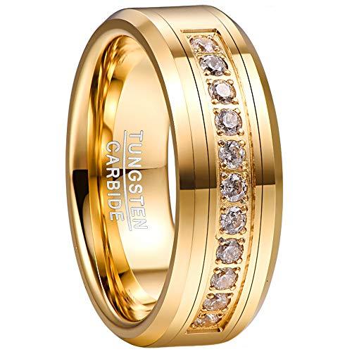 NUNCAD Herren Damen Ring Vergoldet aus Wolfram mit Zirkonia Inlay Breite 8mm Partnerringe für Hochzeit Verlobung Freundschaft Lifestyle Größe 57 (17)