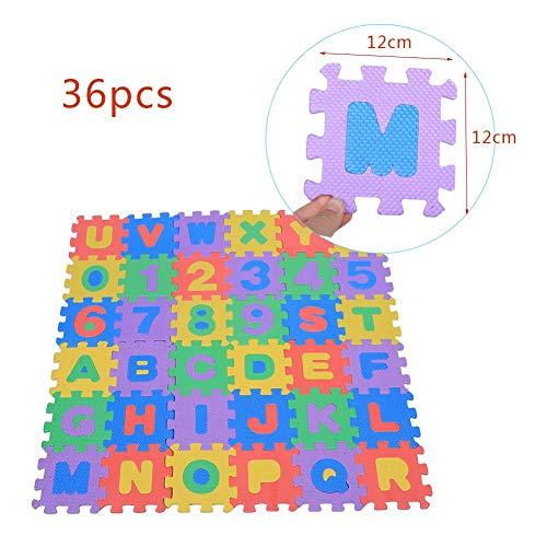 Kinderspielmatte, 36 Stück Soft EVA Foam Spielmatte, Zahlen & Buchstaben Puzzle Matten, Baby Kinder Kinder Spielen Krabbeltier Spielzeug