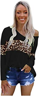 T Shirts for Women,Women Fashion Leopard Stripe Long Sleeve V-Neck Off Shoulder Blouse Casual Tops