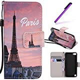 iPod Touch 5 Case,LEECOCO Fancy Paint Design Wallet Case with Card Slots Shockproof Colorful Floral PU Leather Flip Stand Magnetic Case Cover for iPod Touch 6 with 1 Stylus Pen,Sunset Tower