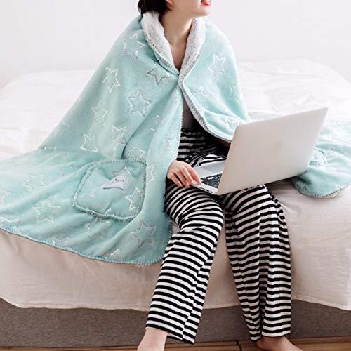 Hzjjc Kuscheldecke TV Decke für Erwachsene Frauen und Männer Baumwolle Flauschig Kuscheldecken Pullover Decken zum Anziehen Warme Winter Blanket Microfaser für Geschenk Weihnachten, Grün