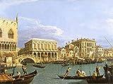 AMANUO Canaletto Impresiones Pinturas Famosas sobre Lienzo Paisaje 120X80 cm Cuadros Enrollada - Vista Riva Degli Schiavoni Venecia