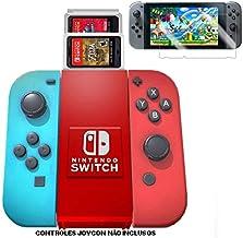 Grip armazenador para Joy Con Nintendo Switch Vermelho e Branco e Pelicula