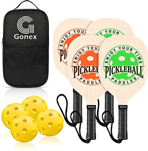 Gonex Wooden Pickleball Paddle Set with 4 Wood Pickleball Rackets, 4 Pickle Balls Wide Body Pickleball Racquet for Kids & Beginners