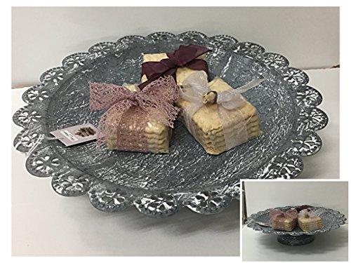 Angelica Home & Country Corbeille porte fruits, porte gâteaux, 26,5 x 26,5 x 6,2 cm, en métal gris blanchi assiette de décoration
