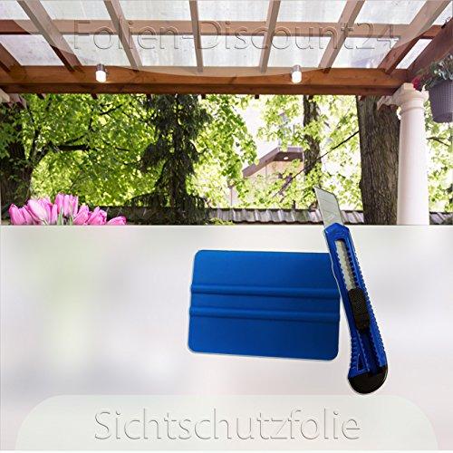 Die Werbepalette (EUR 5,58 / Quadratmeter) Fensterfolie 120x100 cm als Sichtschutz | Klebefolie inklusive Installationshilfe dazu (1 Stück Cutter + 1 Stück Rakel) F-D24