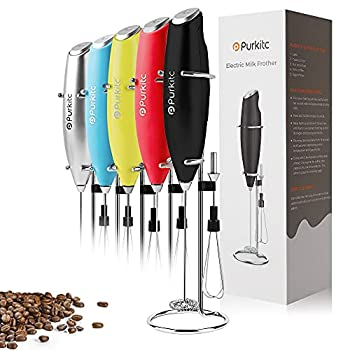 Milk Frother Handheld Detachable with Egg-beating Head and Support Stand Electric Milk Coffee High Powered Low Noise Drink Mixer Perfect for Coffee Cappuccino Matcha Hot Chocolate