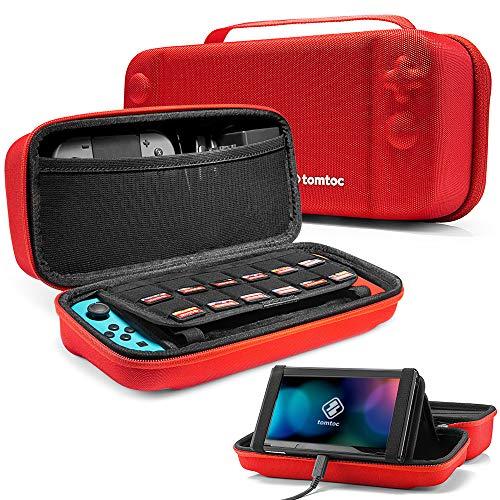 tomtoc Travel Case Tasche für Nintendo Switch, Hartschale Reise Hülle mit Ständer Tragetasche Aufbewahrungstasche, kompatibel mit Switch Konsole, 24 Spielkarten, Netzteil, Joy Con Griff, Rot