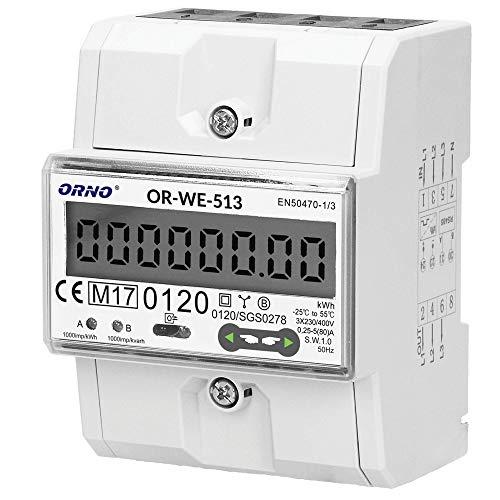 ORNO OR-WE-513 Stromzähler Hutschiene 3-Phasen-Anzeige des Stromverbrauchs mit MID Zertifikat, 0,25A – 80A, 3 x 230V/400V~, 50/60Hz, 1000 imp/kWh