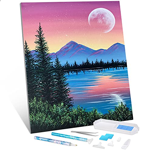 Diamond Painting Kits for Adults Kids Beginners, SNMUW 5D DIY Bright Moon Diamond Art by Number Kits, Great for Relaxation and Home Wall Decor Gift (12x16 inch)