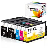 Miss Deer 711XL Designjet Ink Cartridge(CZ133A) Replacement for HP 711 XL 711XL,Work for HP DesignJet T120 24-in Printer T520 24-in Printer HP DesignJet T520 36-in Printer,80-ml (2BK, 1C, 1M, 1Y)