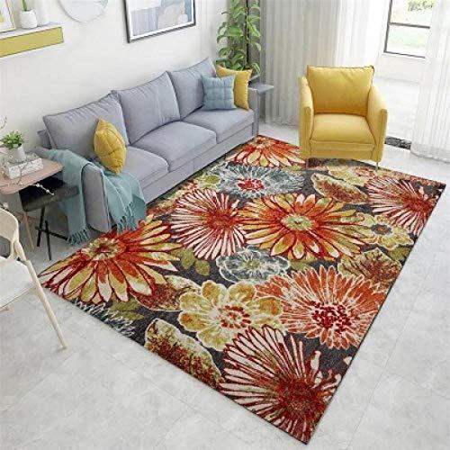 Diseño Moderna Alfombra salón Alfombra Planta Flores Naranja Rojo Flor grande-120 * 160 CM,para Sala, comedór Dormitorio alfombras, fácil de Limpiar