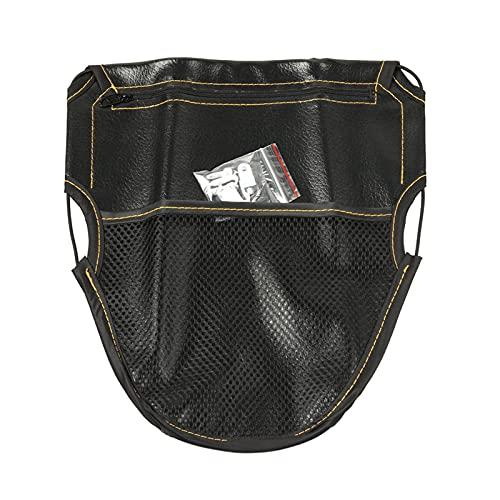 Blesiya Bolso de la bolsa de almacenamiento del cojín del asiento de la motocicleta de la PU negra, diseño de los bolsillos dobles