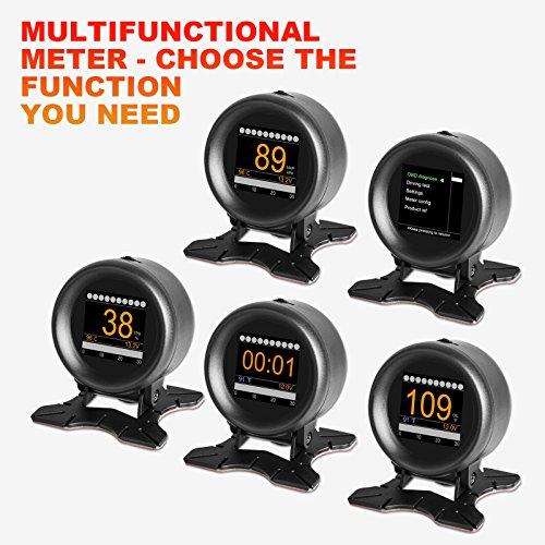 AUTOOL X60 Coche OBD2 Velocímetro Digital Multifunción, medidor de temperatura de agua y aceite, herramienta de análisis de voltaje de batería, lector de códigos de problemas etc para 12V OBDI