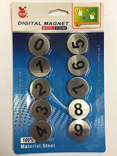 Stainless Steel Magnet Magnetic Numbers 0-9 for Fridge Freezer Whiteboard