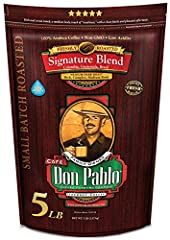 Don Pablo's Special Blend of Colombia, Guatemala, and Brazil Medium to Full Bodied with a Very Smooth Cocoa Toned Finish & Low Acidity Medium-Dark Roast - Whole Bean Arabica Coffee - GMO Free Try Don Pablo Risk-Free: Buy now, and if you don't love ou...