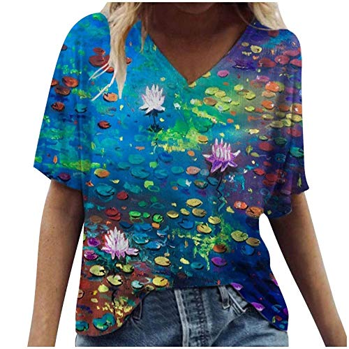 Fashion Women's T-Shirt Vintage Watercolor Flower Print Short Sleeve Tunics Loose V-Neck Comfort Tops Blouse