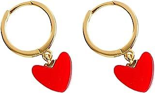 ABOOFAN 1 par de pendientes de Navidad pendientes de oreja de Navidad con forma de corazón rojo para Año Nuevo (rojo)