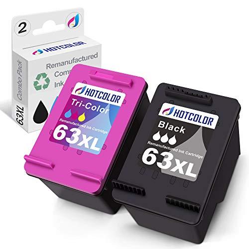 HOTCOLOR 63XL Ink Remanufactured Ink Cartridge Replacement for hp 63XL Ink cartridges for officejet 3830 4650 DeskJet 3632 2130 Envy 4520 Ink Cartridge(1 Black/1 Color, 2 Pack)
