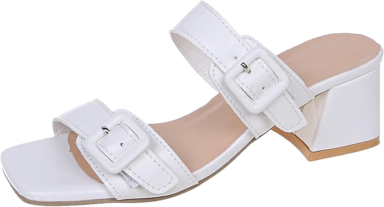 ZiSUGP Summer Women's Shoes With Special-shaped Heel, Middle Heel Roman Sandals