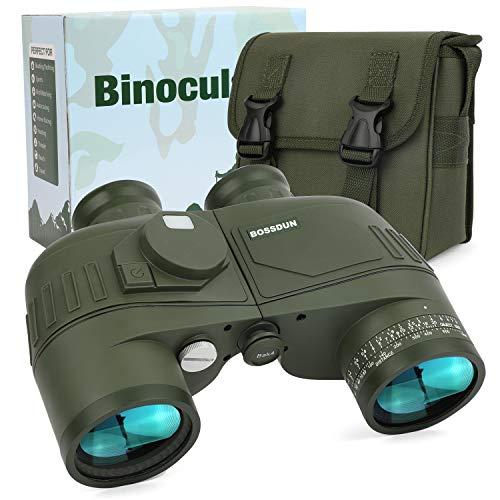 Prismáticos Marinos 7X50 para Adultos, Binoculares Impermeables con Telémetro, Brújula BAK4 & Prisma FMC,Lente para Observación de Aves, Caza, Navegación