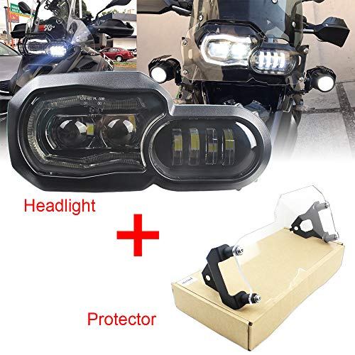 KUQIQI for BMW LED Headlight High/Low Beam with Angel Eyes DRL and Protection Cover Assembly Kit and Replacement Headlight Compatible with BMW F650GS/F700GS/F800GS F800ADV F800R …