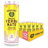 Guayaki Yerba Mate | Organic Alternative to Herbal Tea, Coffee and Energy Drink | Sparkling Ginger Sage | 80 mg of Caffeine | 12 Oz | Pack of 12