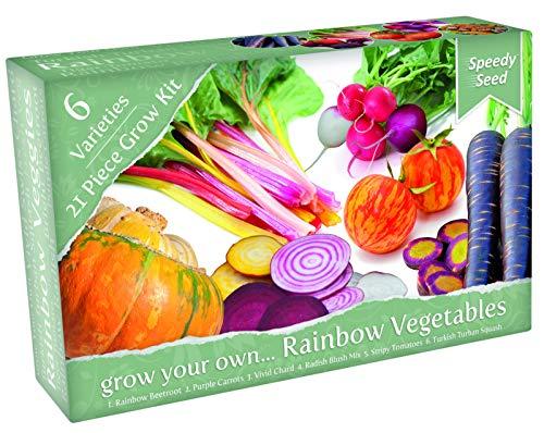 Kit de culture de légumes originaux et funky, 6 variétés extraordinaires à cultiver, comprend des graines, du terreau, des étiquettes et une mini-serre, cadeau idéal pour les amateurs de jardinage - -