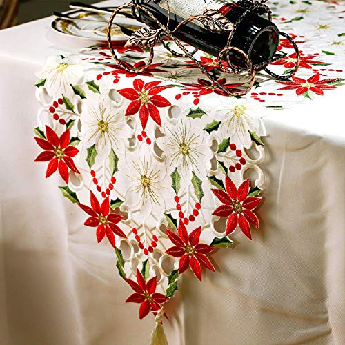 MCJS 16 x 70 Inch Christmas Embroidered Table Runner Red Table Runners for Dining Room, Kitchen, Home Christmas Decorations