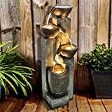 "40"" 4-Tier Pots Outdoor Floor Water Fountain - Tabletop Indoor/Outdoor Water Fountain for Yard, Patio, Garden - Brown"