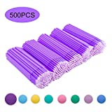 Quewel Lash 500 Pcs Disposable Micro Applicator Brush for Makeup Beauty Dental Brush for Oral 8 Colors 3 Size(2.5mm,2mm,1.5mm) (Dark purple,1.5mm)