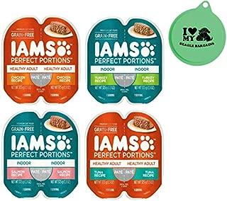 Iams Perfect Portions Grain Free Pate Premium Wet Cat Food Variety Pack, 4 Flavor Bundle, 2.6 Oz Each - 8 Twin Packs (16-1.3 Oz Servings) Plus Can Cover