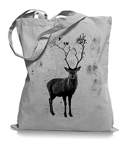 Ma2ca Deer Birds Tree Stoffbeutel   Hirsch Tragetasche Elch Vögel-light_grey