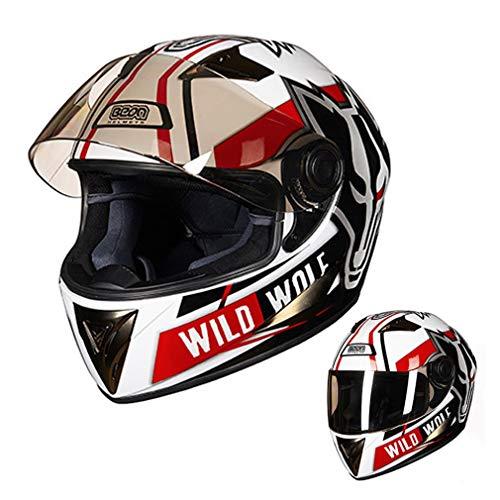PGONE Casco da Motociclista ECE Wolf Casco Integrale da Motociclista omologato Replica Cruiser Bobber Track Dispositivi di Protezione Individuale, Pulizia Rimovibile, per Adulti Uomini Donne