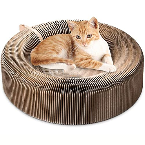 SCDCWW Pet Cats Scratcher Lounge Bed Collapsible Folding Corrugated Paper Deform Cats Scratch Board for Cats Bed Mat Kitten Toy Pet Supply