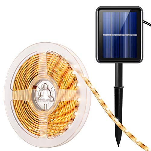 AMIR Solar LED Streifen, 90 LED Led Strip 3 Meter, IP65 Wasserdicht Outdoor Solar Lichterkette, 8 Modi, Automatisch EIN/AUS, LED Stripes für Weihnachts Hochzeit Schaukasten Garten Haus etc (Warmweiß)